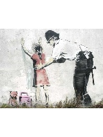Policeman Searching Girl by Banksy 24 x 18 Custom Canvas Print