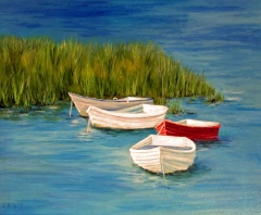 Red Dinghy Canvas Print 20x16