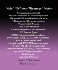 The Williams Marriage Rules Canvas Print 16x20