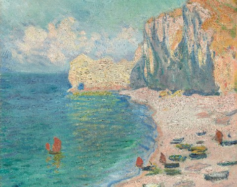 The Beach and the Falaise d'Amont Canvas Print 16x12