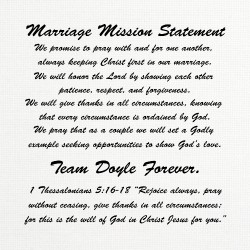 Doyle Marriage Mission Statement 16 x 16 Custom Canvas Print