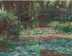 Bridge over a Pond of Water Lilies  Canvas Print 16x12