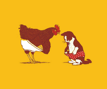 Chicken and Cat Underwear Canvas Print 24x20