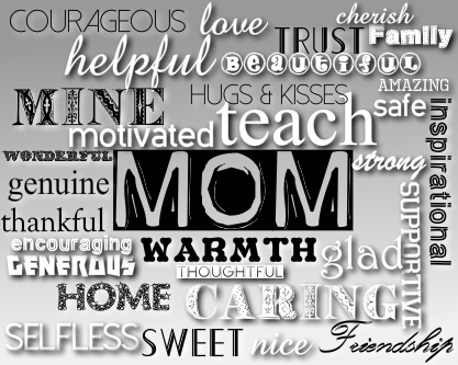 Words We Think of When We Hear Mom Canvas Print 20x16