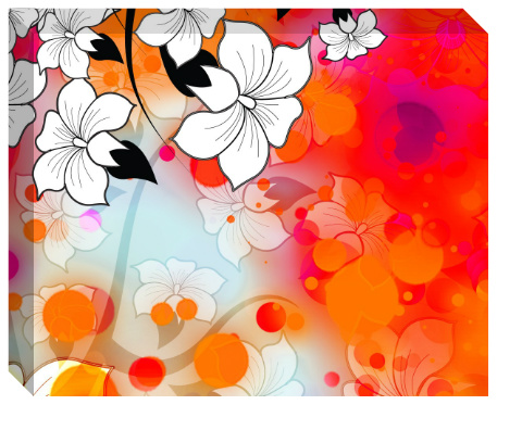 Tropical Flower Motif Canvas Print 20x16