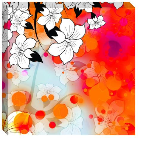 Tropical Flower Motif Canvas Print 24x24