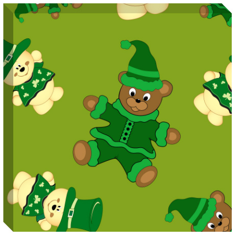 St Pattys Day Bears Canvas Print 24x24
