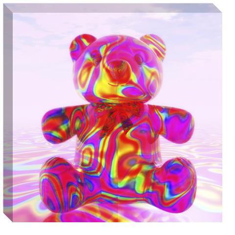 Pink Beary Bear Canvas Print 24x24