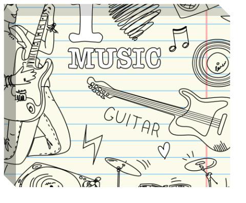 I Heart Music Canvas Print 20x16
