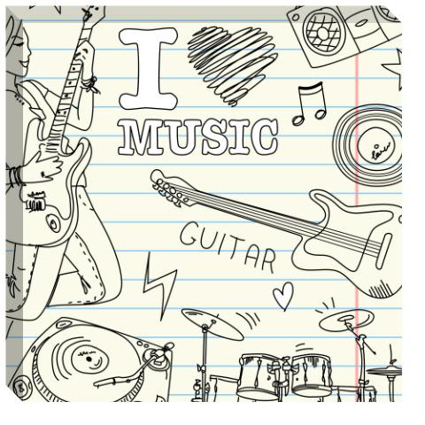 I Heart Music Canvas Print 24x24