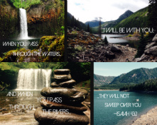 Isaiah 43:2 Canvas Print 30x24