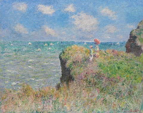 The Cliff Walk at Pourville - Claud Canvas Print 16x12