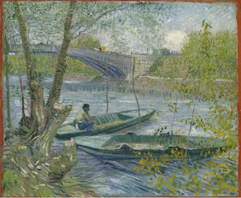 Fishing in Spring by Vincent van Go Canvas Print 14x11