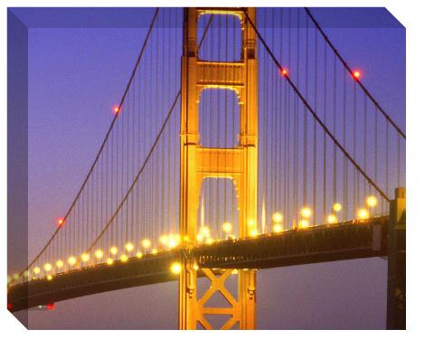 Golden Gate at Night Canvas Print 20x16