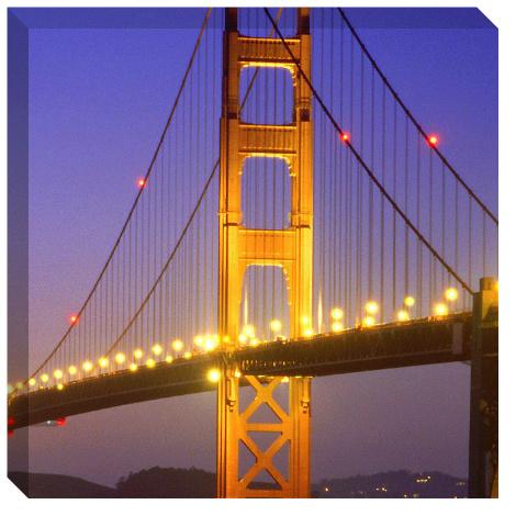 Golden Gate at Night Canvas Print 24x24