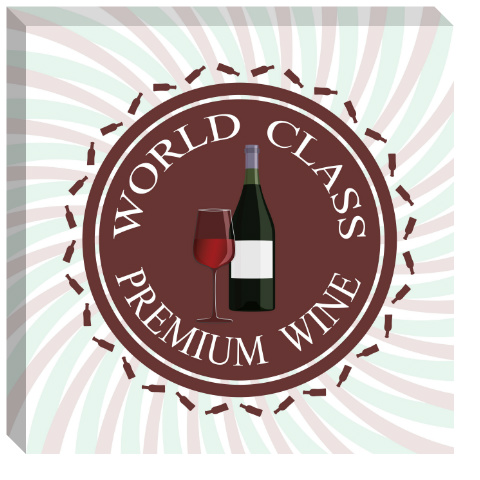 Premium Wine Logo Canvas Print 24x24