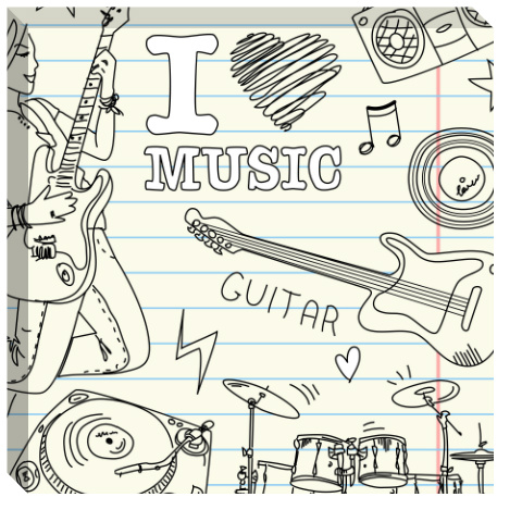 I Heart Music Canvas Print 24x24